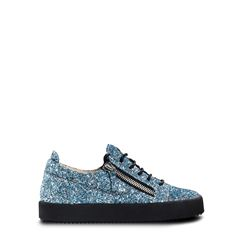 Women's blue sequined sneakers