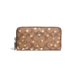 Coach SV/Khaki Multi Signature Pop  Star Print  Accordion Zip from Bicester Village