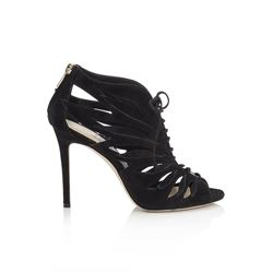 Jimmy Choo Keena 100 Black Suede Sandal Booties