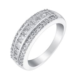Signet Jewellers 18ct White Gold 1ct Round and Princess Cut Diamond Band