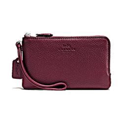 Coach leather double corner zip