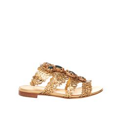 Sergio Rossi gold Felegree flat sandals from Bicester Village