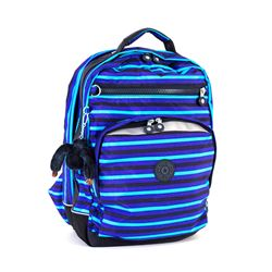 Blue Striped Rucksack with Laptop Compartment