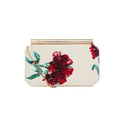 Oscar De La Renta  Embroidered carnation-printed silk clutch from Bicester Village