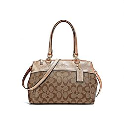 Coach Women's Rose Gold Sig Metallic Trim Mini Brooke Carryall