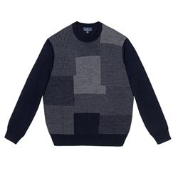 Brooks Brothers Patchwork Sweater Knitted in Soft Merino Blend