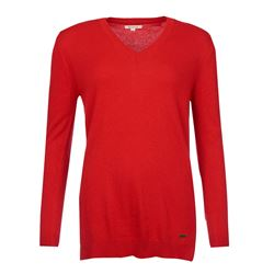 Barbour Ladies Red V Neck Jumper