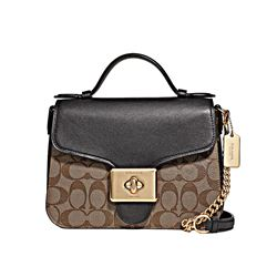Coach women's khaki black Cassidy Top Handle Crossbody