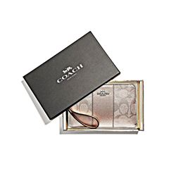 Coach Women's platinum Boxed Signature Corner Zip