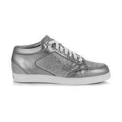 Jimmy Choo Miami Silver Glitter Fabric Metallic Nappa Low Top Trainers