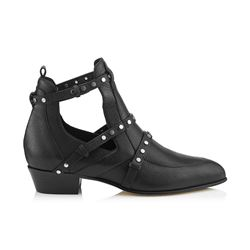 Jimmy Choo Harley 30 Black Textured Leather Cut Out Booties