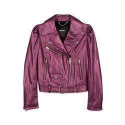 Women's purple leather jacket