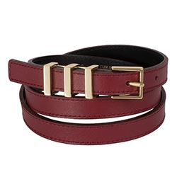 Sandro - Burgundy belt and gold buckle