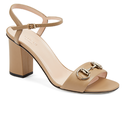 Gucci Medium heel sandal in bright camel leather with horsebit detail