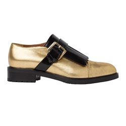 Tru Trussardi - Gold shoes with black fringing