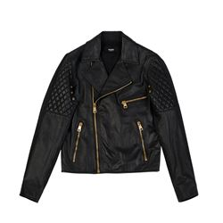 Women's leather jacket in black by Versace at Ingolstadt Village