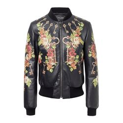 Leather printed jacket