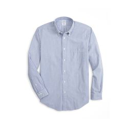 Brooks Brothers Men's Blue Madison Fit Stripe Seersucker Sport Shirt
