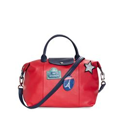 Red leather folding bag