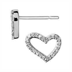 Links of London White Topaz/ Sterling Silver Heart Earrings