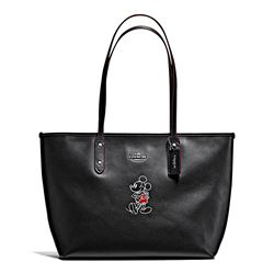 Damen-Handtasche 'Mickey Leather City Zip Tote' in Schwarz von Coach in Wertheim Village