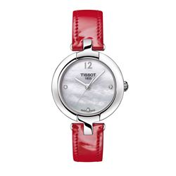 Tissot Watch in silver and red by Hour Passion at Wertheim Village