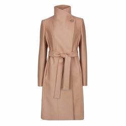 Ted Baker Lorili long button detail wrap coat in taupe