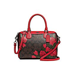 Coach Mini Bennett Satchel Camo Rose Floral Printed Logo